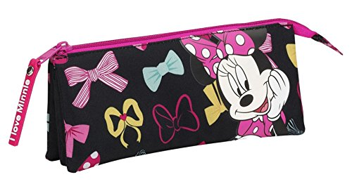 Minnie Portatodo Triple, Color Negro y Rosa