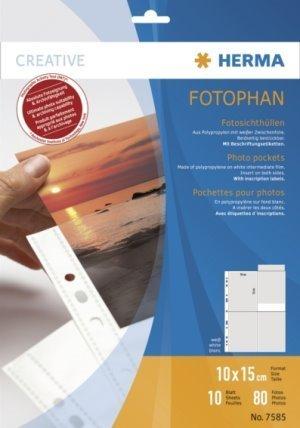 fotohuellen 10x15 5 Packungen à 10 Blatt (50 Blatt) Fotohüllen Fotosichthüllen HERMA 7585 weiß 10x15 cm hoch