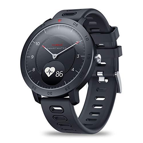 seawardi Fitness Smart Watch Bluetooh wasserdichte mechanische Smartwatch 0,49 Zoll OLED-Farbbildschirm Aktivitäts-Tracker mit Herzfrequenz-Blutdruckmessgerät Sport-Armband Analog Farbton