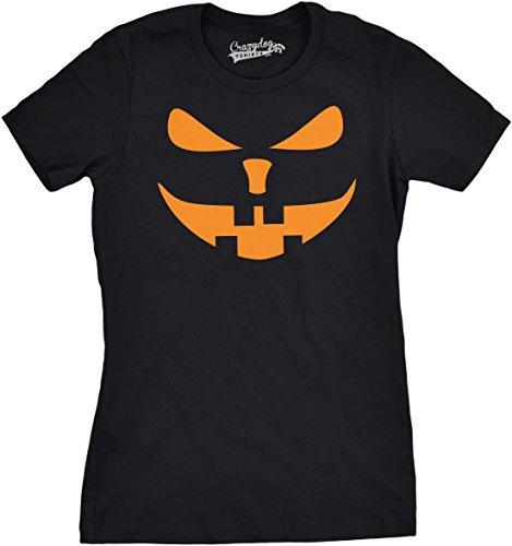 Crazy Dog Tshirts - Womens Buck Teeth Pumpkin Face Funny Fall Halloween Spooky T Shirt (Black) L - Damen - L