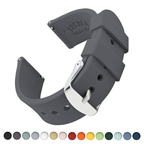 Archer Watch Straps   Repuesto de Correa Reloj de Silicona para Hombre y Mujer, Caucho Fácil de Abrochar para Relojes y Smartwatch   Gris Grafito, 20mm