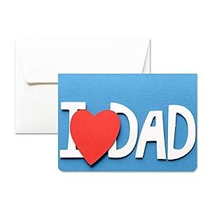 I love dad - Ich liebe Papa Vatertag - Grußkarte mit Umschlag (10,5 x 15 cm) - handgemachte Karte - freier raum nach innen