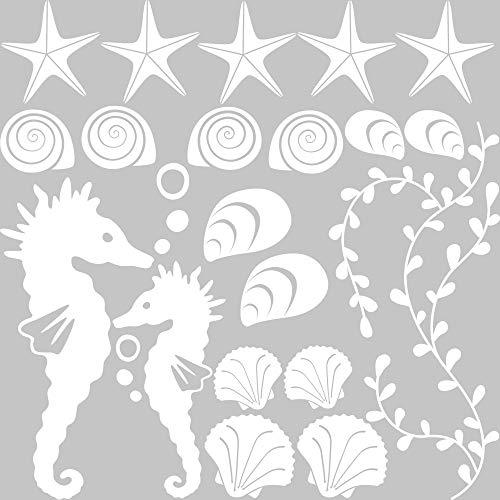 Meer Bad (GRAZDesign Walltattoo Küste Nordsee Meer Unterwasser Welt - Badezimmeraufkleber Muscheln Seesterne Set - Wandtattoo Badezimmer mit Zwei Seepferdchen / 57x57cm / Farbe 010 Weiss)