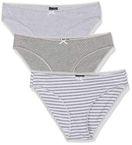 Marc O\'Polo Body & Beach Damen Multipack W-Mini 3-Pack Brazilian Slip, Grau-Mel. 202, 40 (Herstellergröße: L) (erPack 3