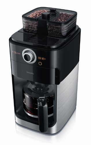 Philips HD7762/00 Coffee Maker with Glass Jug Grind and Brew System, 1.2 Litre, 1000 Watt – Black Metal