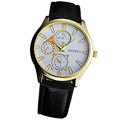 Toamen Classic Design Analog Quartz Business Watches with Geneva Leather Strap Wristwatch : everything £5 (or less!)