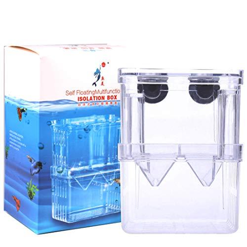 Tiberham Fisch Zuchttanks, Acryl Floating Fisch Hatchery Isolation Box, Doppelschicht Ablaichkasten Hatching Brutkasten Aquarium Fisch Züchter Box Inkubator mit Saugnäpfen