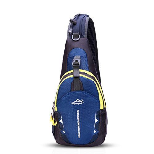 FANDARE Sling Bag Rucksack Umhängetasche Brusttasche Messenger Bag Hiking Bag Daypack Crossbody Bag Schultertasche Reiserucksack Polyester Navy Blau (Rucksack Messenger Gurte Bag)