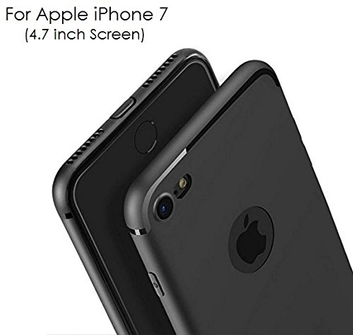 WOW Imagine(TM) Soft Silicone All Sides Protection Slim Back Case Cover For Apple iPhone 7 (4.7 inch Screen),Pitch Black