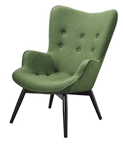 SalesFever Designer Ohren-Sessel mit Armlehnen aus Webstoff in Tannengrün   Anjo   Club-Sessel im Retro-Design   Gestell aus Holz in Schwarz-Braun   68 x 41 x 92 cm