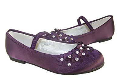cd63592a169a Girls purple satin flower girl ballerina shoes with flowers and gems size 8