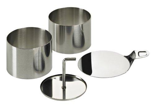 Lurch 220285 Speiseringe Edelstahl Set 8-teilig: 6 Ringe Durchmesser 7,5 cm x H 5,5 cm, 1 Stampfer, 1 Tablett