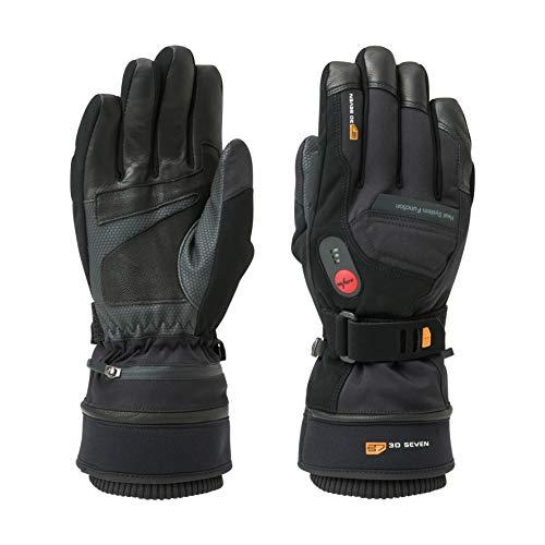30seven Beheizbare Ski-Handschuhe | Snowboard-Handschuhe mit Protektoren | wasserdichte Motorrad-Handschuhe | Handschuhe Winter Herren und Damen | Schwarz | Größe 9 (M)