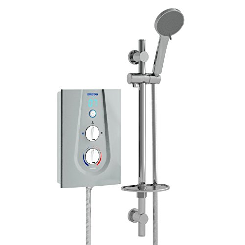 Bristan JOYT395 MS 9.5 kW Joy 3 Thermostatic Electric Shower - Metallic Silver/White Best Price and Cheapest