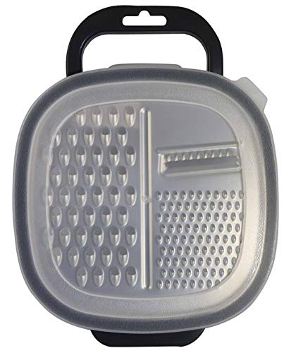 Fackelmann 40906 - Rallador rectangular con recipiente, 25 x 19 x 6 cm, Sybaris, color: blanco semitransparente...