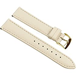 Eulit Fancy Classic Replacement Band Watch Band bovine Leather Strap Beige 25459G, width:12mm