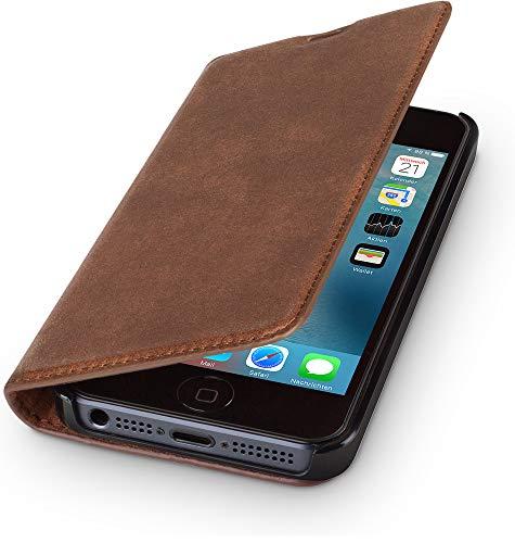 WIIUKA Echt Ledertasche - TRAVEL Nature - Apple iPhone 5 / 5S / SE - DEUTSCHES Leder - Vintage Braun, mit Kartenfach, extra Dünn Tasche Premium Design Leder Hülle