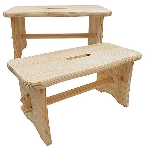 2er Set Hocker aus Holz 40 x 20 x 20 cm Tritthocker Schemel aus Nadelholz perfekt als Fußbank Multifunktionshocker - Hocker Schemel