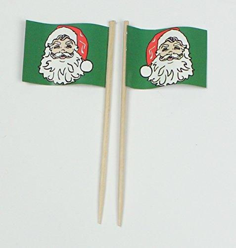 Party-Picker Flagge Weihnachten 4.2 Weihnachtsmann Grün Papierfähnchen in Profiqualität 50 Stück Beutel Offsetdruck Riesenauswahl aus eigener Herstellung