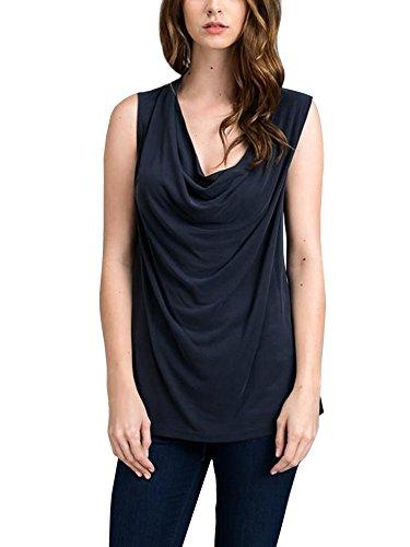 Lueyifs Damen Ärmellose T-Shirts V-Ausschnitt Einfach Hemd Einfarbig Weste Blusen Oberteil Tank Top (Motorhaube Klassische)