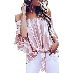 Blusas para Mujer,Camisas Rayas Mujer del Hombro Cintura Corbata Blusa Manga Corta Camisetas Casuales Tops Camisas de Mujer Elegantes de Fiesta