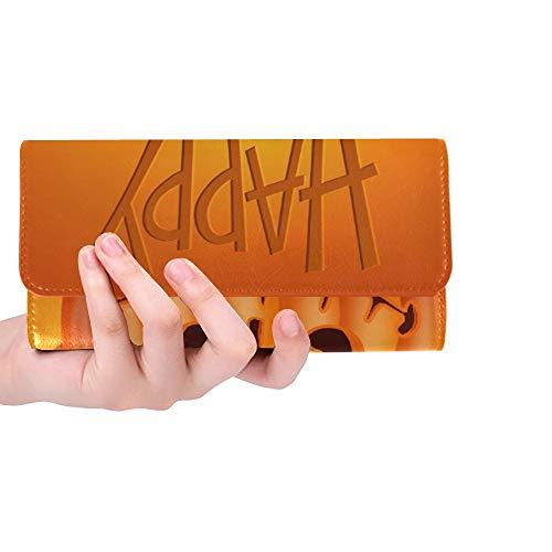 Einzigartige benutzerdefinierte lustige Kürbis Charakter auf orange Frauen Trifold Wallet Lange Geldbörse Kreditkarteninhaber Fall Handtasche