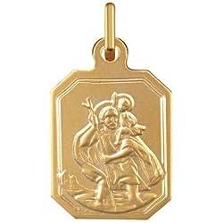 SAINT CHRISTOPHE - Médaille Religieuse - Or 9 carats - Hauteur: 16.5 mm - www.diamants-perles.com