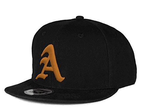 Casquette de Baseball Snapback Bonnet Cap Chapeau Snap back 3D Gothique A Hip-Hop (A Black Black) A Black Gold