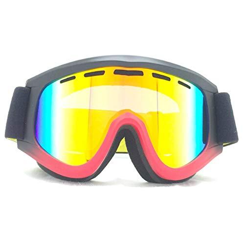 Solarium Schutzbrille Zylindrische Skibrille Großes Sichtfeld Gegen Beschlagen Und Sanddichter Schnee Für Männer Und Frauen Im Winter Black Red Damen Herren