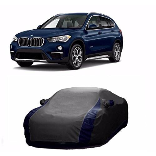 MotRoX Lively Water Resistant Car Body Cover for BMW X1 (Grey & Blue - V Shape)