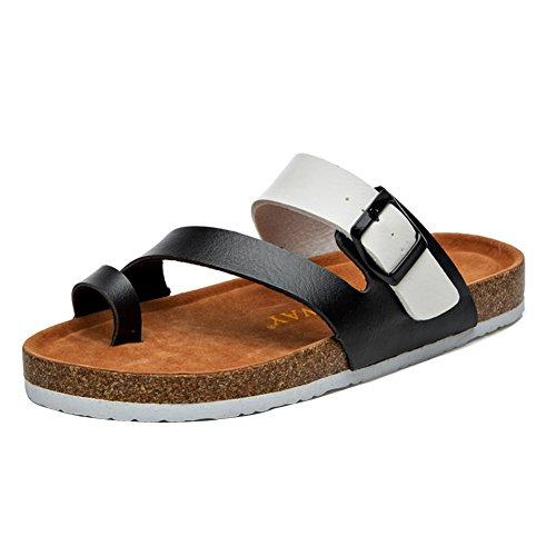 Unisex Adulto Sandali Sughero - Pantofole Estive - Scarpe Da Spiaggia - Con Fibbie Nero Bianco