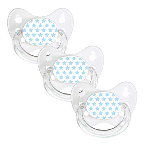 Positive Air Flow (Dentistar® 3er Set Silikon-Schnuller - Größe 1 von Geburt an, 0-6 Monate - Nuckel zahnfreundlich & weich für neugeborene Babys, Blauweiß Sterne)