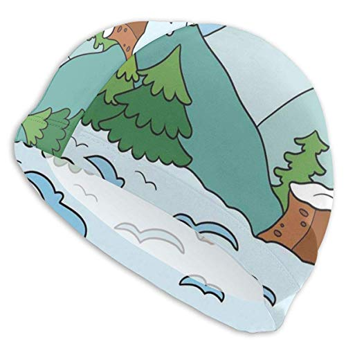 Gebrb Cuffie da Nuoto,Cuffie da Bagno, Elastic Cuffia Piscina,Night Time Town Houses from Above Urban Landscape Illustration Abstract Cartoon Style,for Men Women Youths