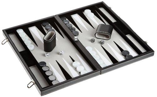 Philos 1721 - Backgammon Filzinlet grau-weiß-schwarz, groß, Koffer Kunstleder