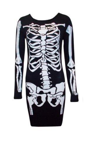 Vestito per halloween, per donna, motivo: scheletro (m-l)