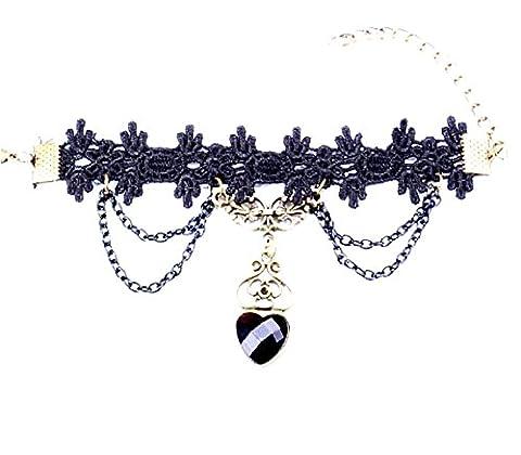 M27–Bague Bracelet baciamano en dentelle macramé noir style victorien