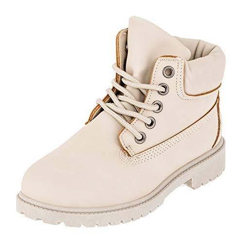 Classic Boots für Jungen und Mädchen Unisex Stiefel Reißverschluss Schnürsenkel M444hbe Hell Beige 35 EU -