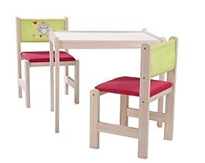 roba-kids-50710V150 Set de Mesa, Silla y Banco de Juego de Madera Natural, Multicolor (Roba Baumann 50710V150)