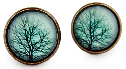 Miss Lovie Damen Ohrstecker Blätter Baum Ohrringe Tree Natur Cabochon 12mm Ohrschmuck (Blau(Blue))