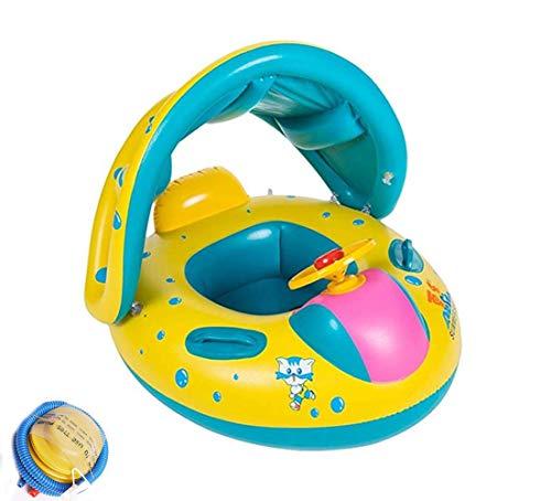 Thole Baby Schwimmring Mit Sonnendach Aufblasbares Kinderboot FüR Kinder Hand Pumpe1-3 Gelb