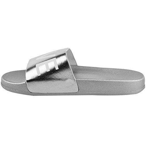 Claquettes plates à enfiler - motif Love - été - femme Argenté métallisé confortable