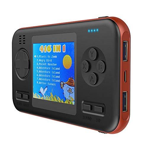 nsole, 3D-Gamboy-Powerbank, 8000 mAh, integrierte 416 kleine Spiele, 7,1 cm großes Farbdisplay, tragbare Retro-Videospielkonsole mit Schnellladegerät für Reisen schwarz/orange ()