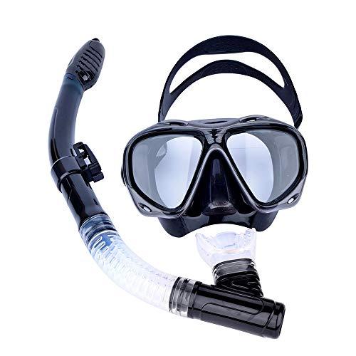 EP-Snorkel Mask Traje de Buceo Profesional, Gafas antiniebla y Tubo de respiración de respiración fácil, 100{280e20983cca802a9d026a586e0782ba59885f9e9d9130cef95f117ffb5c80b8} Seguro, no tóxico y sin Sabor, Adecuado para Todo Tipo de Cabezas,Black