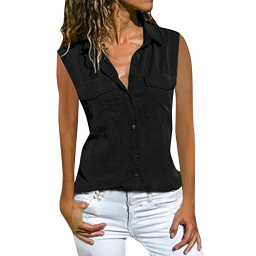 fbcd01354 YIHANK Womens Casual Lapel Neck T-Shirt Ladies Long Sleeve Buckle Blouse  Tops Bk/L Womens Clothing Jacket Dress Black Tops Design Online Stores ...