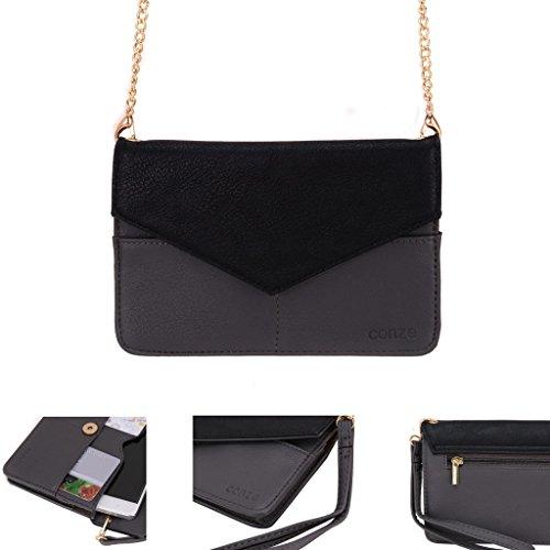 conze de femmes d'embrayage portefeuille tout ce sac avec bretelles pour Smart Téléphone pour BenQ F52/B502Boîte/F5/A3/F3 gris gris