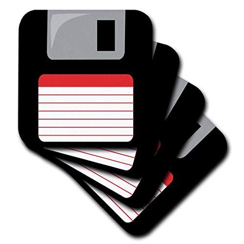 3dRose CST_57457_3 Retro 90er Jahre Computer Schwarz Disketten-Grafik-Design mit rotem Label - 1990er Jahre Computer Tech-Keramik Fliesenuntersetzer, 4er Set