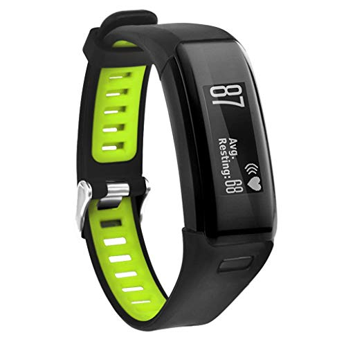 WAOTIER für Garmin Vivosmart HR Armband Silikon Armband mit Großen Löchern Zweifarbiger Armband für Garmin Vivosmart HR Wasserdichter Ersatzarmband Atmungsaktiver Sportlicher Armband (Grün)