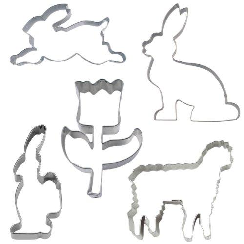 Städter 023840 Ausstechformen-Set Osterzeit (Tulpe, Lamm, Hase sitzend/springend/Hase mit Korb), 5-teilig, Edelstahl rostfrei