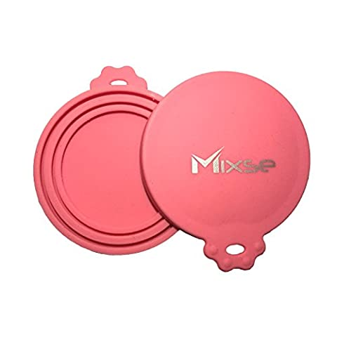 Mixse 2-Pack Universal Silicone Dog Cat Food Tin Can Lid Covers, Pink