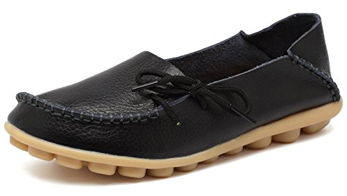 Eagsouni Damen Mokassins Bootsschuhe Leder Loafers Freizeit Schuhe Flache Fahren Halbschuhe Slippers (Damen Mokassin Hausschuhe)